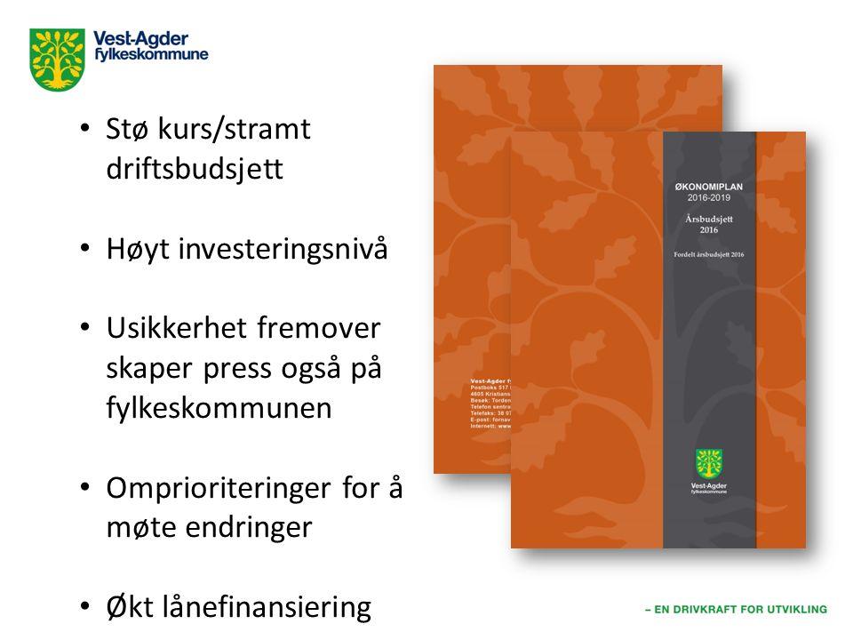Stø kurs/stramt driftsbudsjett Høyt investeringsnivå Usikkerhet fremover skaper press også på fylkeskommunen Omprioriteringer for å møte endringer Økt lånefinansiering