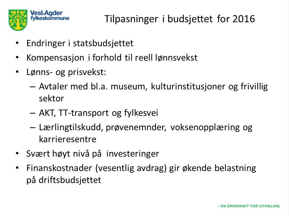 Tilpasninger i budsjettet for 2016 Endringer i statsbudsjettet Kompensasjon i forhold til reell lønnsvekst Lønns- og prisvekst: – Avtaler med bl.a.