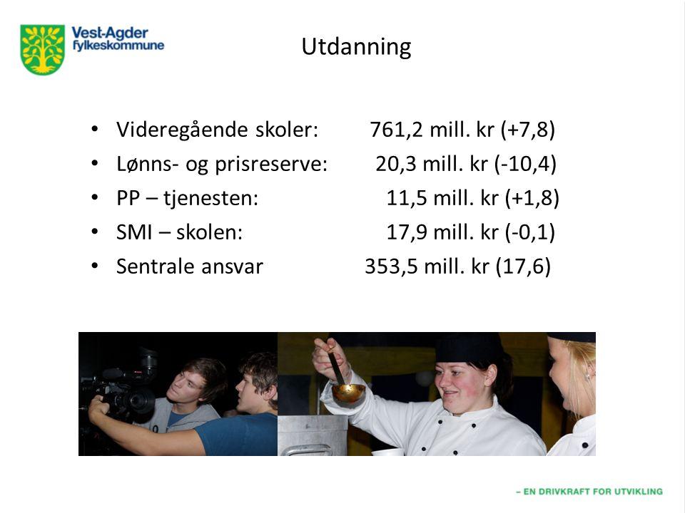 Utdanning Videregående skoler: 761,2 mill. kr (+7,8) Lønns- og prisreserve: 20,3 mill.
