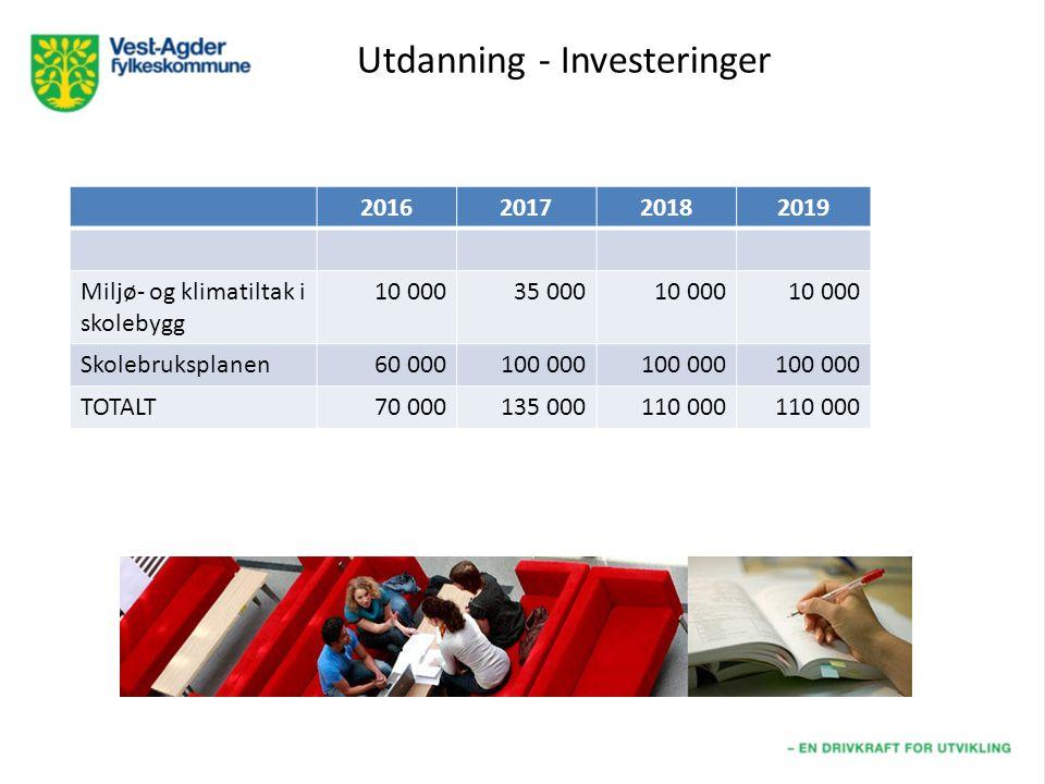 Utdanning - Investeringer 2016201720182019 Miljø- og klimatiltak i skolebygg 10 00035 00010 000 Skolebruksplanen60 000100 000 TOTALT70 000135 000110 000