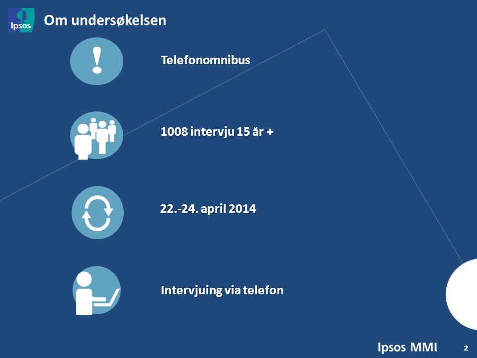 2 1008 intervju 15 år + Om undersøkelsen 22.-24. april 2014 Intervjuing via telefon .