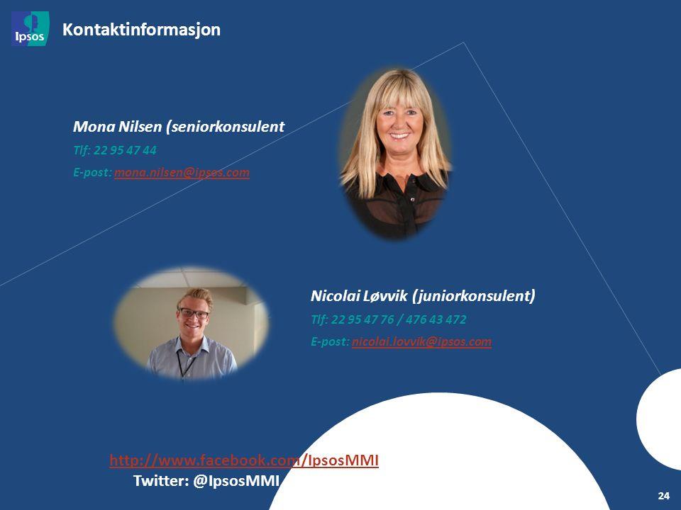 Kontaktinformasjon 24 Mona Nilsen (seniorkonsulent) Tlf: 22 95 47 44 E-post: mona.nilsen@ipsos.commona.nilsen@ipsos.com Facebook: http://www.facebook.com/IpsosMMIhttp://www.facebook.com/IpsosMMI Twitter: @IpsosMMI Nicolai Løvvik (juniorkonsulent) Tlf: 22 95 47 76 / 476 43 472 E-post: nicolai.lovvik@ipsos.comnicolai.lovvik@ipsos.com