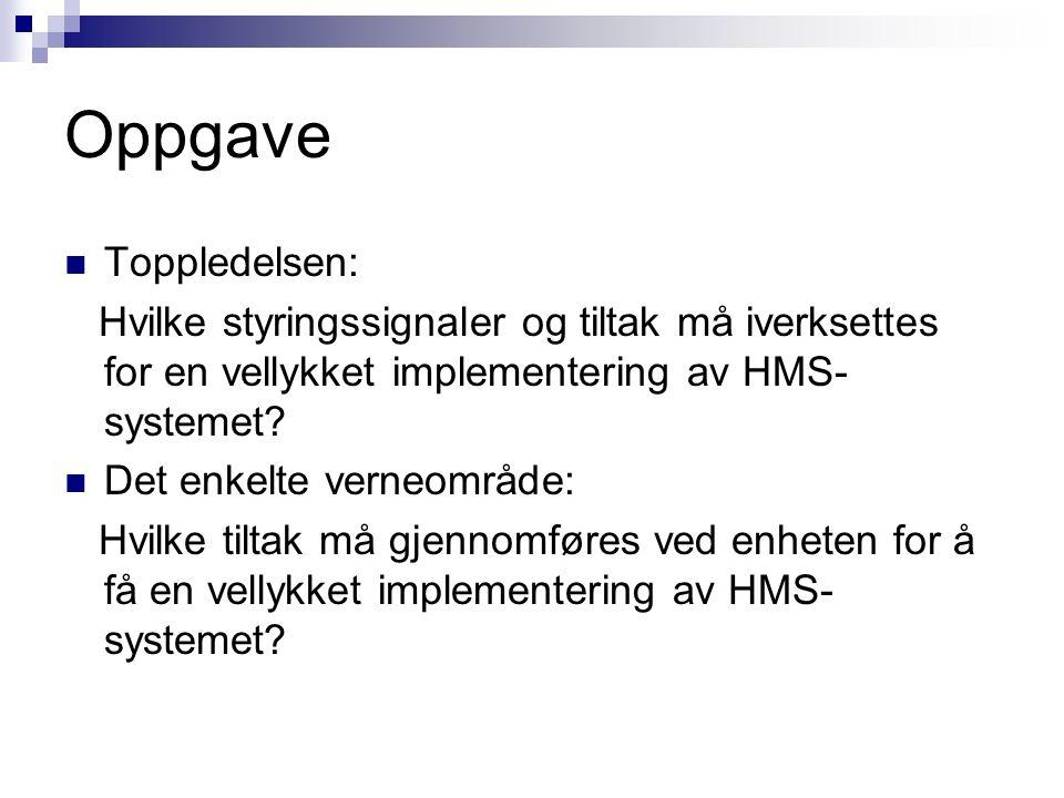 Oppgave Toppledelsen: Hvilke styringssignaler og tiltak må iverksettes for en vellykket implementering av HMS- systemet? Det enkelte verneområde: Hvil