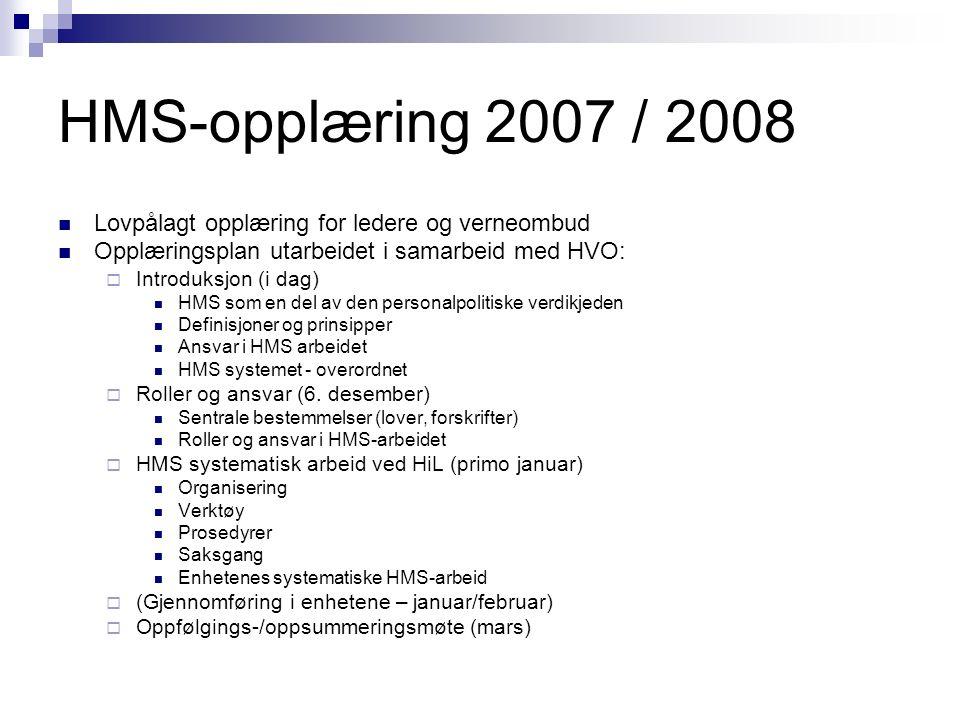 HMS-opplæring 2007 / 2008 Lovpålagt opplæring for ledere og verneombud Opplæringsplan utarbeidet i samarbeid med HVO:  Introduksjon (i dag) HMS som e