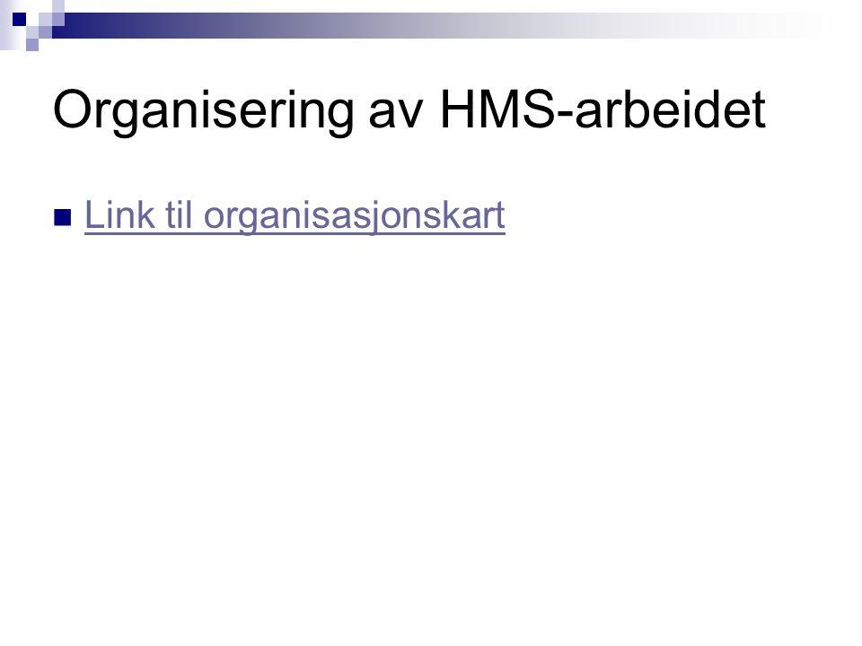 Organisering av HMS-arbeidet Link til organisasjonskart