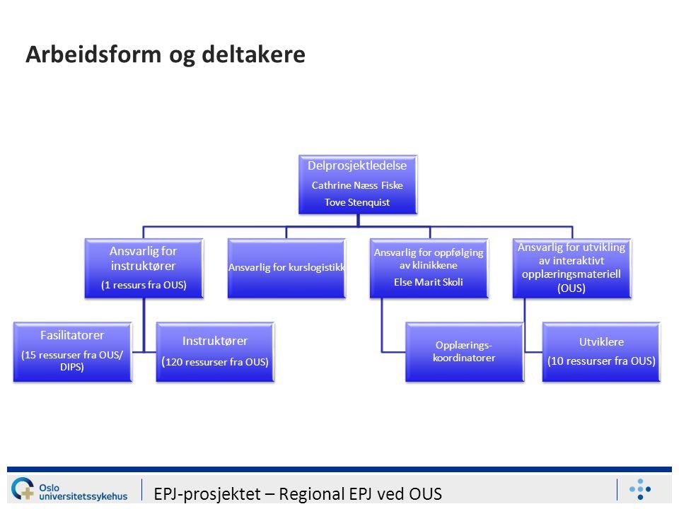 Arbeidsform og deltakere Delprosjektledelse Cathrine Næss Fiske Tove Stenquist Ansvarlig for instruktører (1 ressurs fra OUS) Fasilitatorer (15 ressurser fra OUS/ DIPS) Instruktører ( 120 ressurser fra OUS) Ansvarlig for kurslogistikk Ansvarlig for oppfølging av klinikkene Else Marit Skoli Opplærings- koordinatorer Ansvarlig for utvikling av interaktivt opplæringsmateriell (OUS) Utviklere (10 ressurser fra OUS) EPJ-prosjektet – Regional EPJ ved OUS