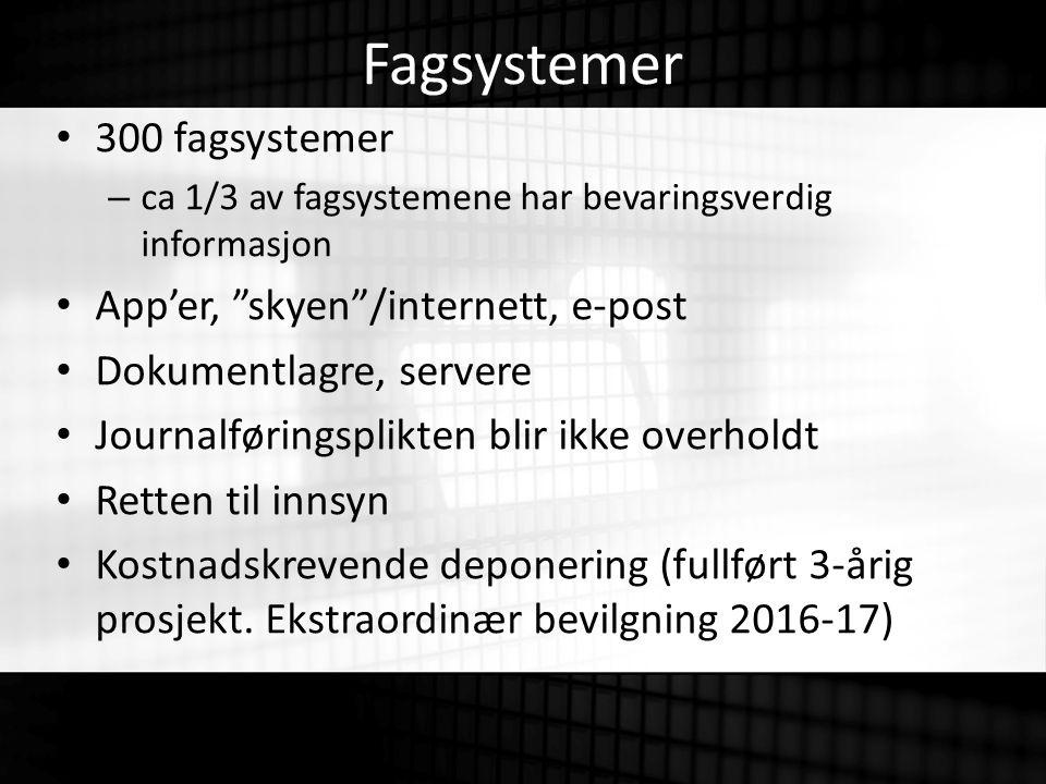 Fagsystemer 300 fagsystemer – ca 1/3 av fagsystemene har bevaringsverdig informasjon App'er, skyen /internett, e-post Dokumentlagre, servere Journalføringsplikten blir ikke overholdt Retten til innsyn Kostnadskrevende deponering (fullført 3-årig prosjekt.