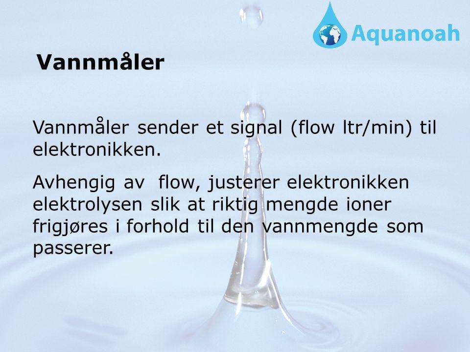 Vannmåler sender et signal (flow ltr/min) til elektronikken.
