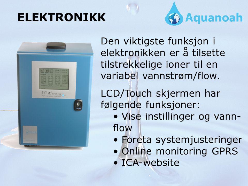 ELEKTRONIKK Den viktigste funksjon i elektronikken er å tilsette tilstrekkelige ioner til en variabel vannstrøm/flow.