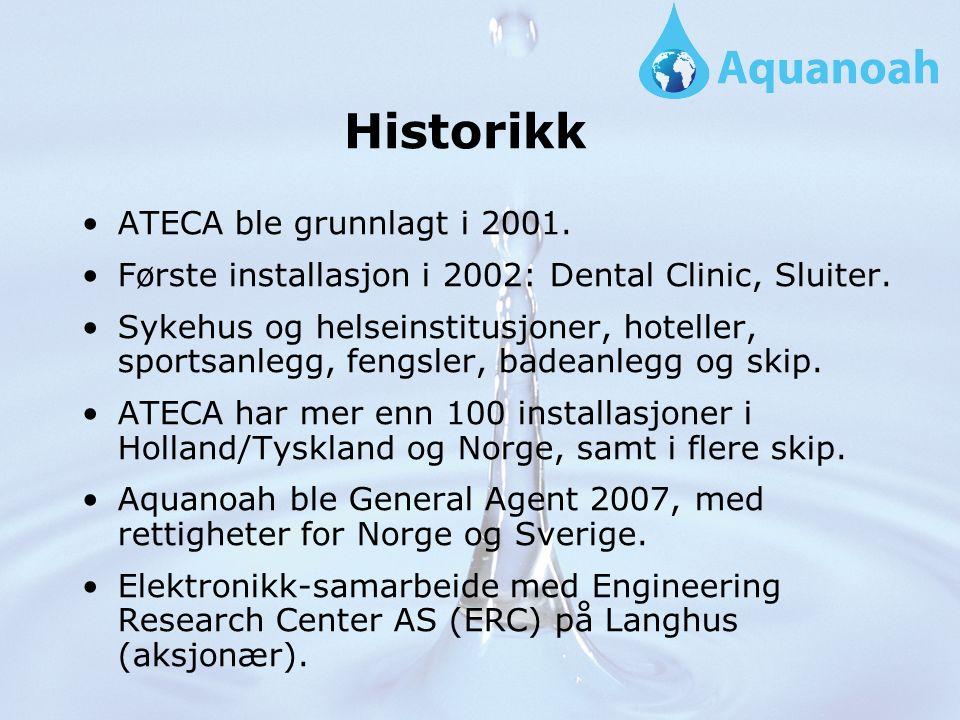 Historikk ATECA ble grunnlagt i 2001. Første installasjon i 2002: Dental Clinic, Sluiter.