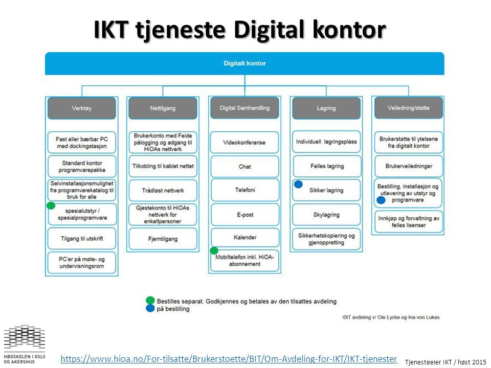 Tjenesteeier IKT / høst 2015 https://www.hioa.no/For-tilsatte/Brukerstoette/BIT/Om-Avdeling-for-IKT/IKT-tjenester IKT tjeneste Digital kontor