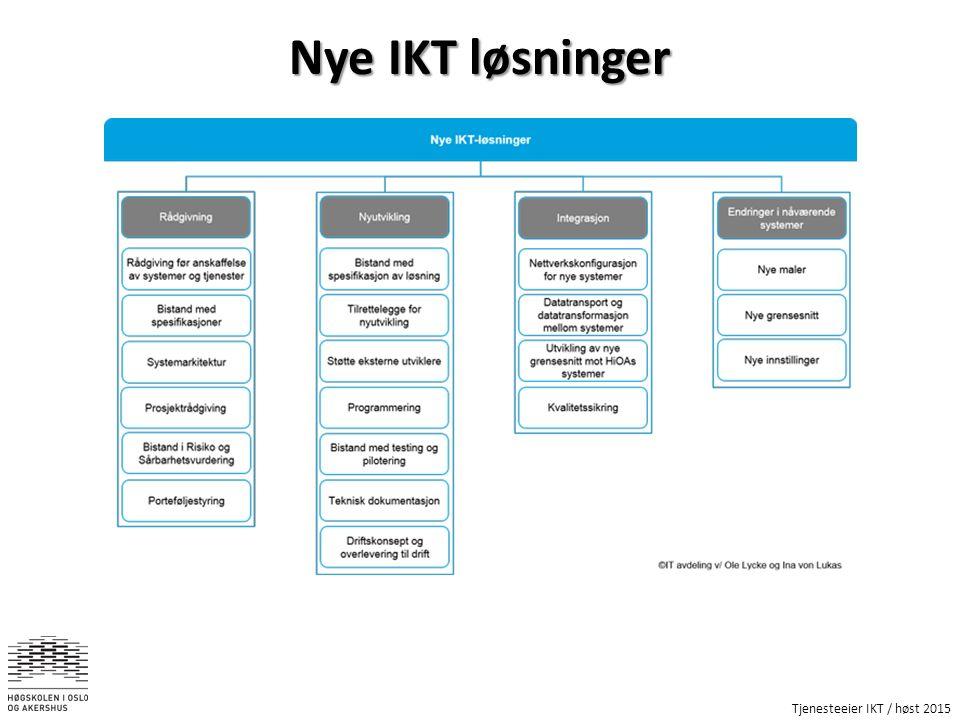 Tjenesteeier IKT / høst 2015 Nye IKT løsninger