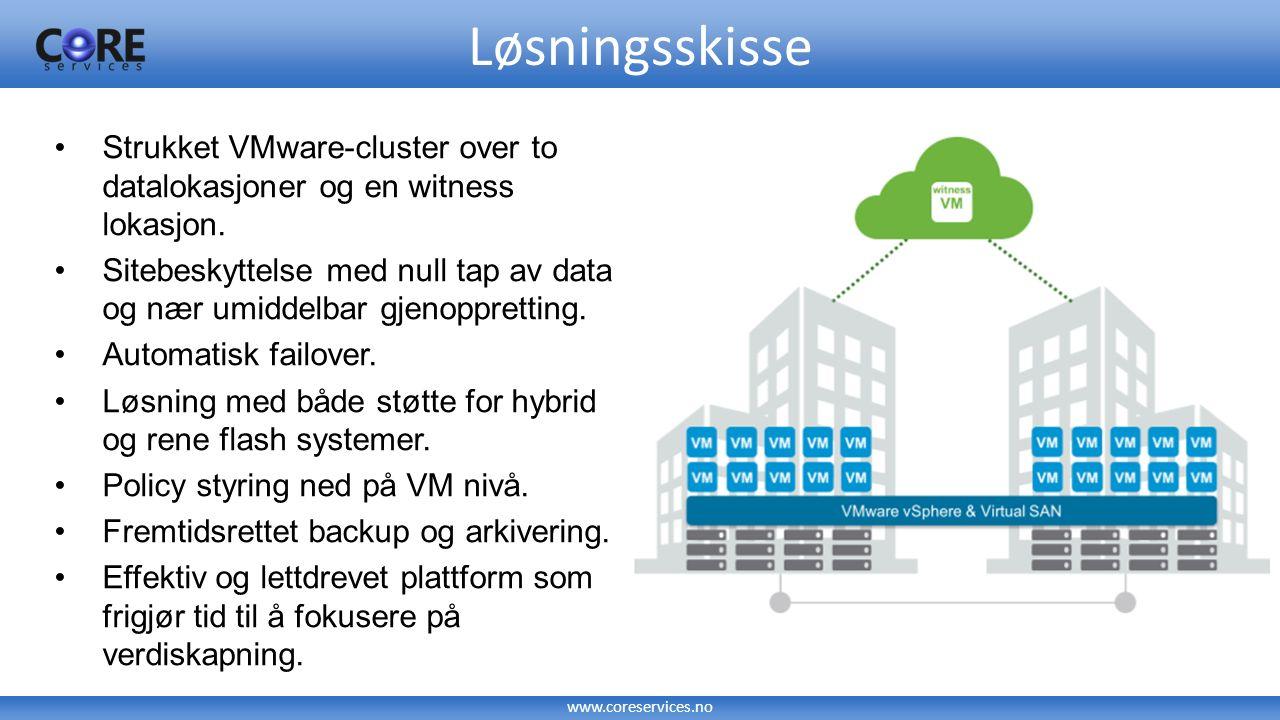 www.coreservices.no Løsningsskisse Strukket VMware-cluster over to datalokasjoner og en witness lokasjon. Sitebeskyttelse med null tap av data og nær
