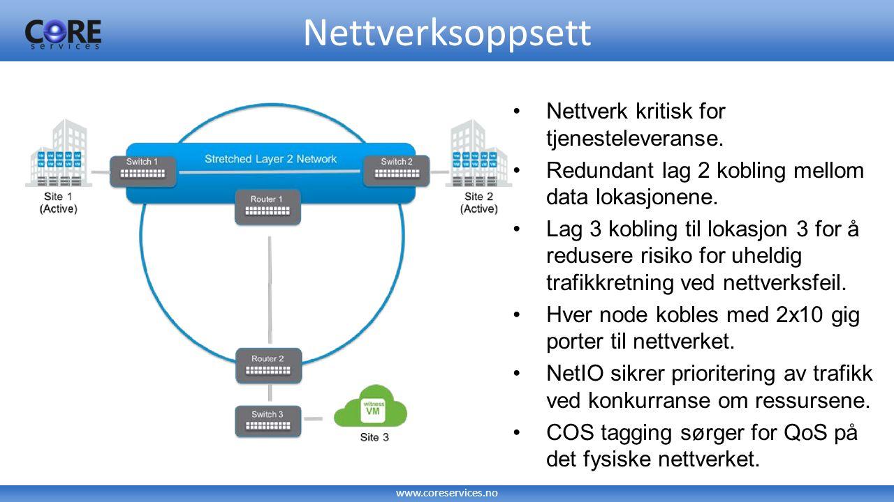 www.coreservices.no VSAN Stretch cluster erfaringer Skaler nettverk for «rebuild» av VSAN noder (+ vanlig VSAN trafikk) Ved feil på en VSAN node vil «rebuild» skje over LAN forbindelse mellom lokasjonene Ved «site» bortfall er det ingen speiling av data Sørg for god tilgjengeligheten på forbindelse mellom lokasjonene og oppetid på datarommene Bør betraktes som ett datasenter strekt over to fysiske lokasjoner Datamigrering av store datamengder vha.