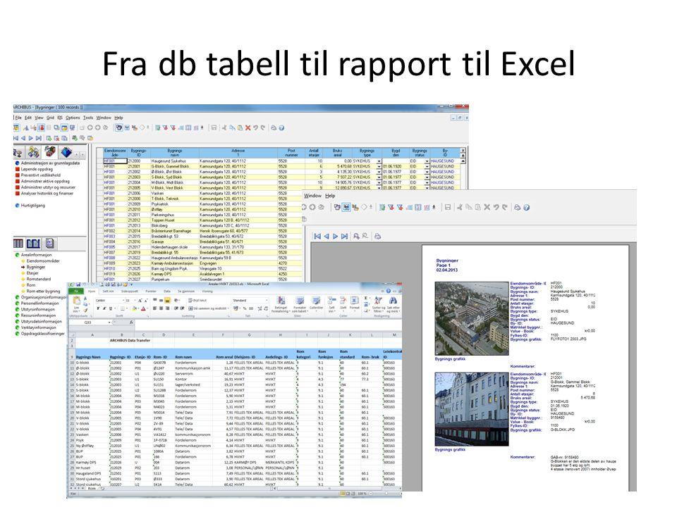 Fra db tabell til rapport til Excel