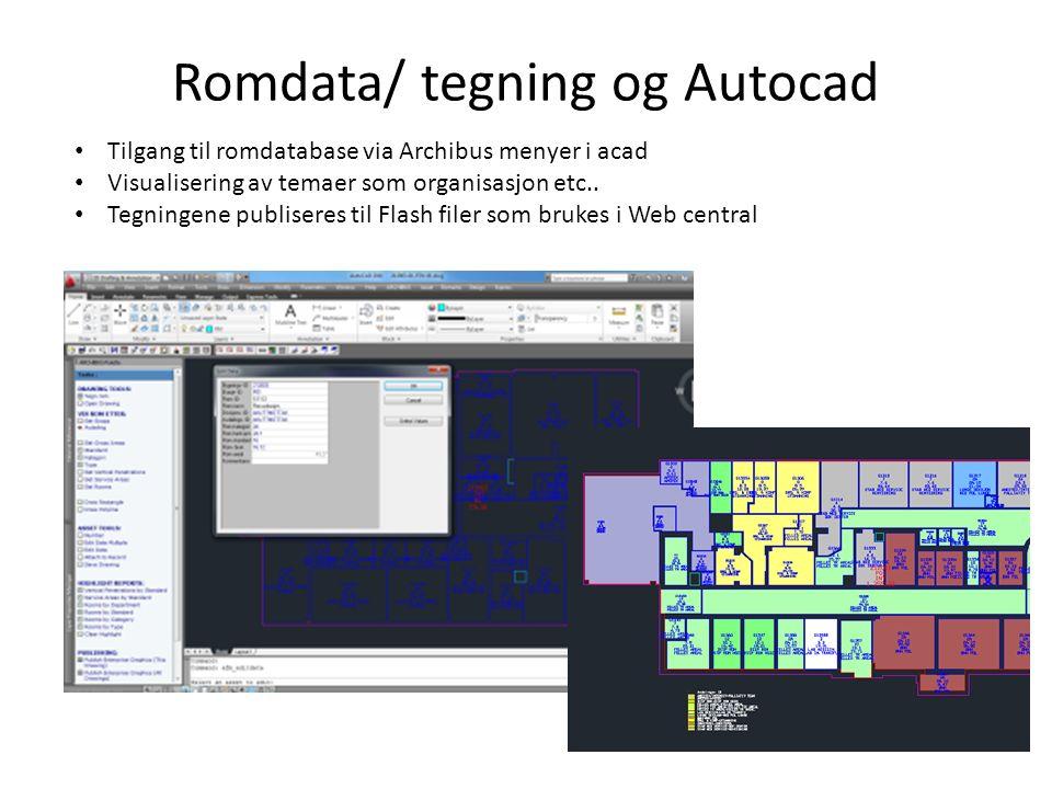 Romdata/ tegning og Autocad Tilgang til romdatabase via Archibus menyer i acad Visualisering av temaer som organisasjon etc..