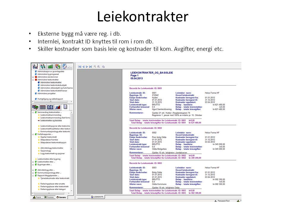 Leiekontrakter Eksterne bygg må være reg. i db. Internlei, kontrakt ID knyttes til rom i rom db.