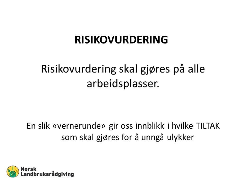 RISIKOVURDERING Risikovurdering skal gjøres på alle arbeidsplasser.
