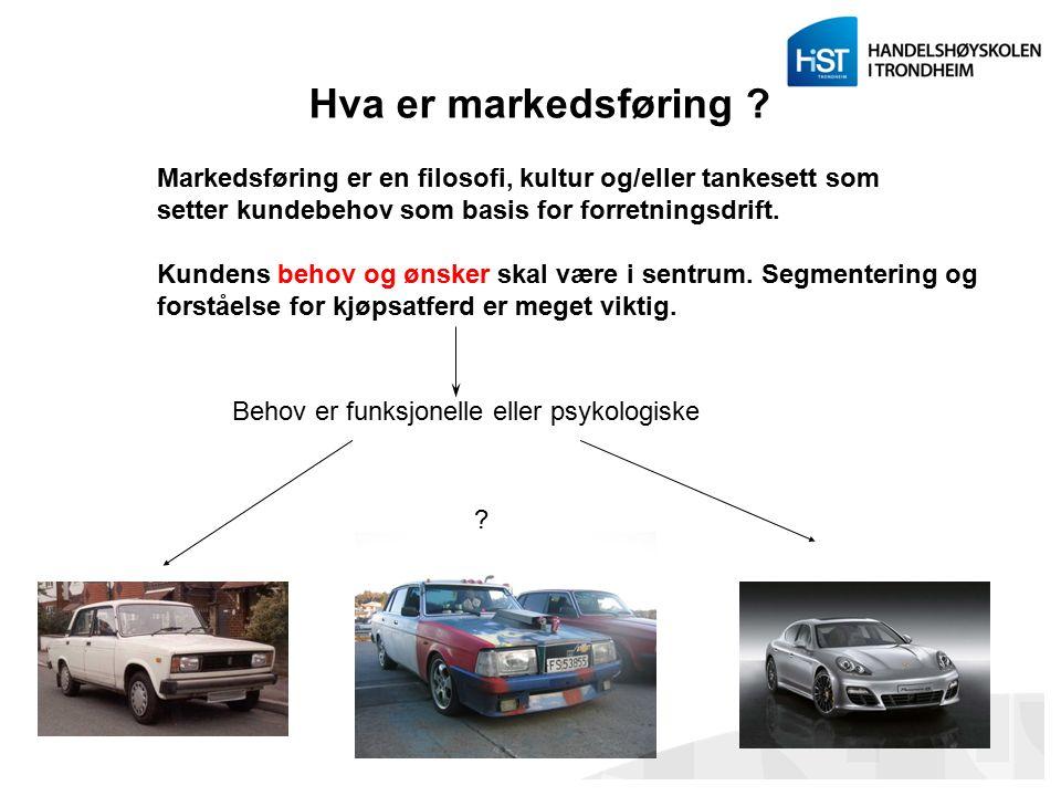 Hva er markedsføring ? Markedsføring er en filosofi, kultur og/eller tankesett som setter kundebehov som basis for forretningsdrift. Kundens behov og