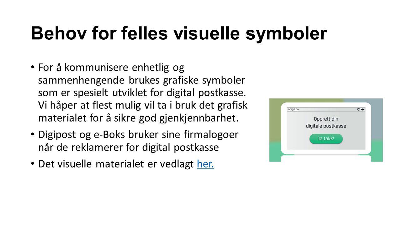 Behov for felles visuelle symboler For å kommunisere enhetlig og sammenhengende brukes grafiske symboler som er spesielt utviklet for digital postkasse.