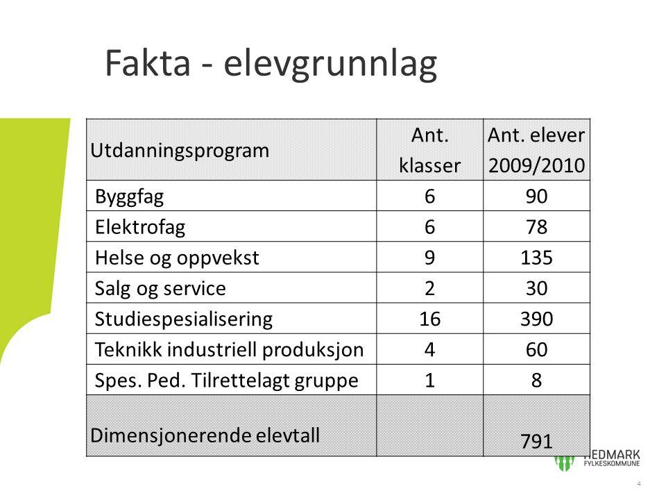 Fakta - elevgrunnlag 4 Utdanningsprogram Ant. klasser Ant.