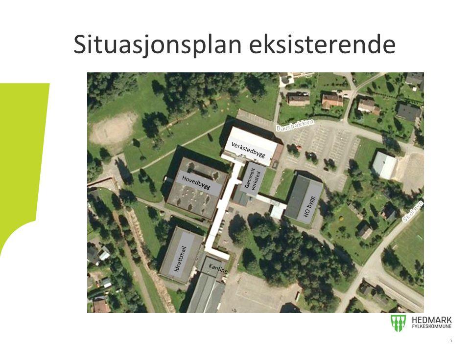 Situasjonsplan eksisterende 5 Verkstedbygg Hovedbygg HO bygg Idrettshall Gammelt verksted Kantine