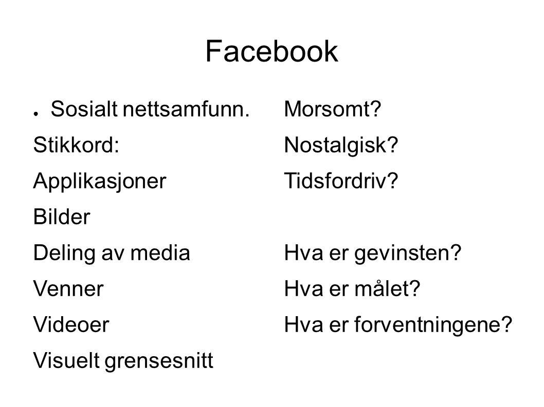 Facebook ● Sosialt nettsamfunn.