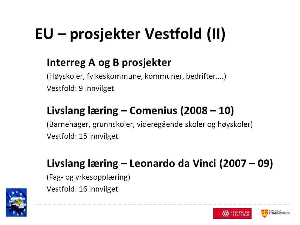 EU – prosjekter Vestfold (II) Interreg A og B prosjekter (Høyskoler, fylkeskommune, kommuner, bedrifter….) Vestfold: 9 innvilget Livslang læring – Comenius (2008 – 10) (Barnehager, grunnskoler, videregående skoler og høyskoler) Vestfold: 15 innvilget Livslang læring – Leonardo da Vinci (2007 – 09) (Fag- og yrkesopplæring) Vestfold: 16 innvilget ------------------------------------------------------------------------------------------------------