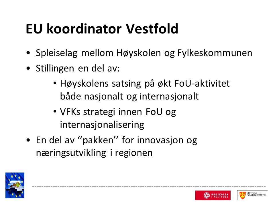 EU koordinator Vestfold Spleiselag mellom Høyskolen og Fylkeskommunen Stillingen en del av: Høyskolens satsing på økt FoU-aktivitet både nasjonalt og internasjonalt VFKs strategi innen FoU og internasjonalisering En del av ''pakken'' for innovasjon og næringsutvikling i regionen ------------------------------------------------------------------------------------------------------