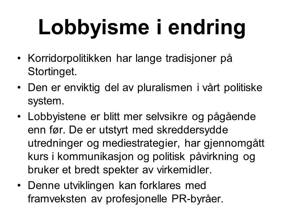 Lobbyisme i endring Korridorpolitikken har lange tradisjoner på Stortinget.