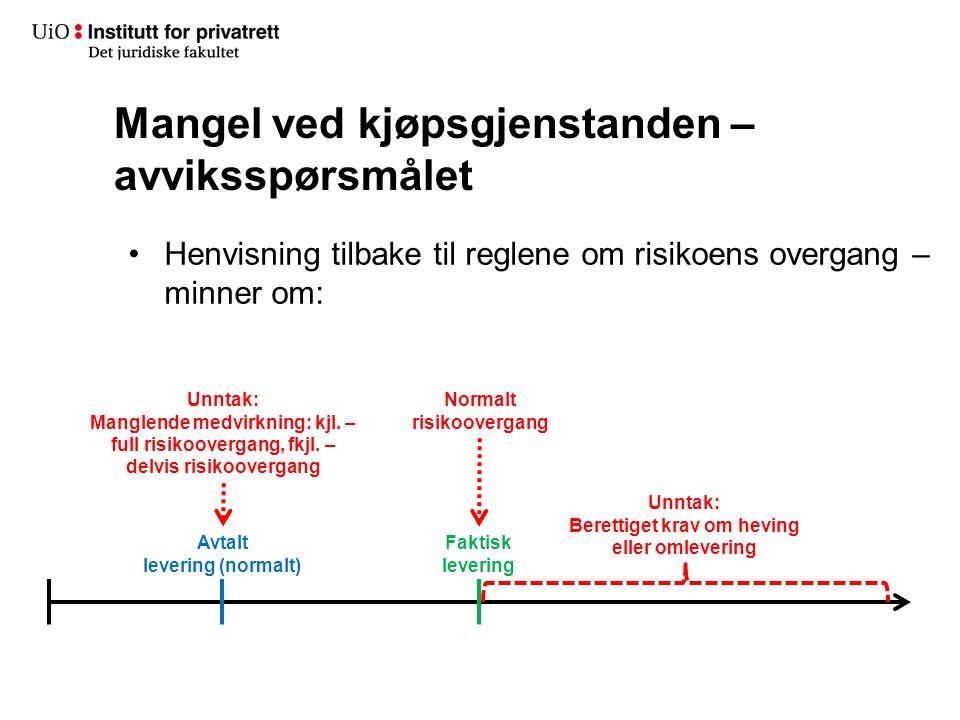 Mangel ved kjøpsgjenstanden – avviksspørsmålet Henvisning tilbake til reglene om risikoens overgang – minner om: Faktisk levering Normalt risikoovergang Avtalt levering (normalt) Unntak: Manglende medvirkning: kjl.