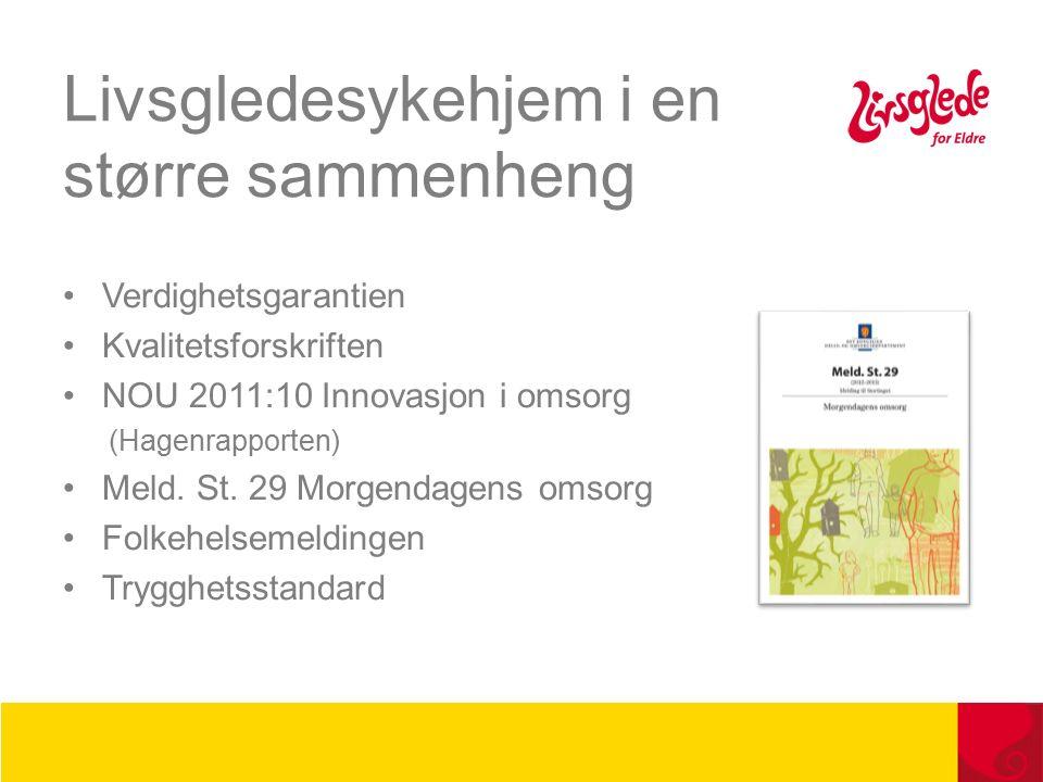 Livsgledesykehjem i en større sammenheng Verdighetsgarantien Kvalitetsforskriften NOU 2011:10 Innovasjon i omsorg (Hagenrapporten) Meld.
