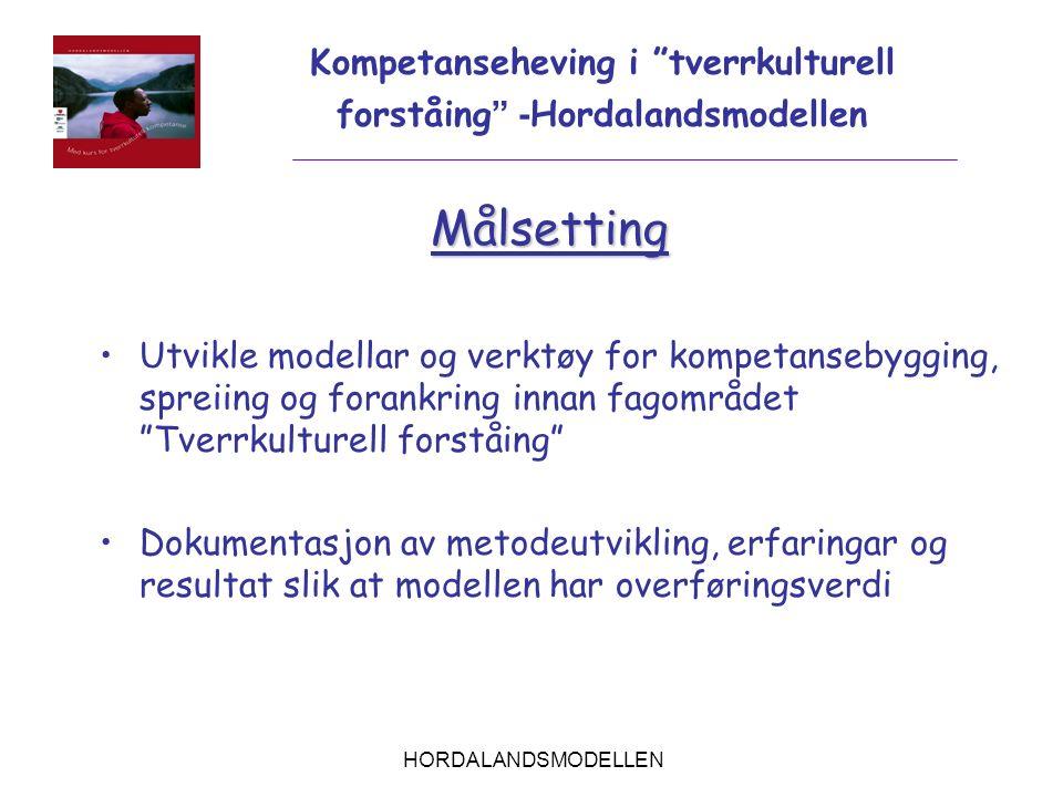"""HORDALANDSMODELLEN Målsetting Utvikle modellar og verktøy for kompetansebygging, spreiing og forankring innan fagområdet """"Tverrkulturell forståing"""" Do"""