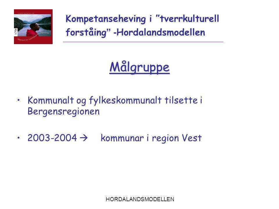 """HORDALANDSMODELLEN Målgruppe Kommunalt og fylkeskommunalt tilsette i Bergensregionen 2003-2004  kommunar i region Vest Kompetanseheving i """"tverrkultu"""