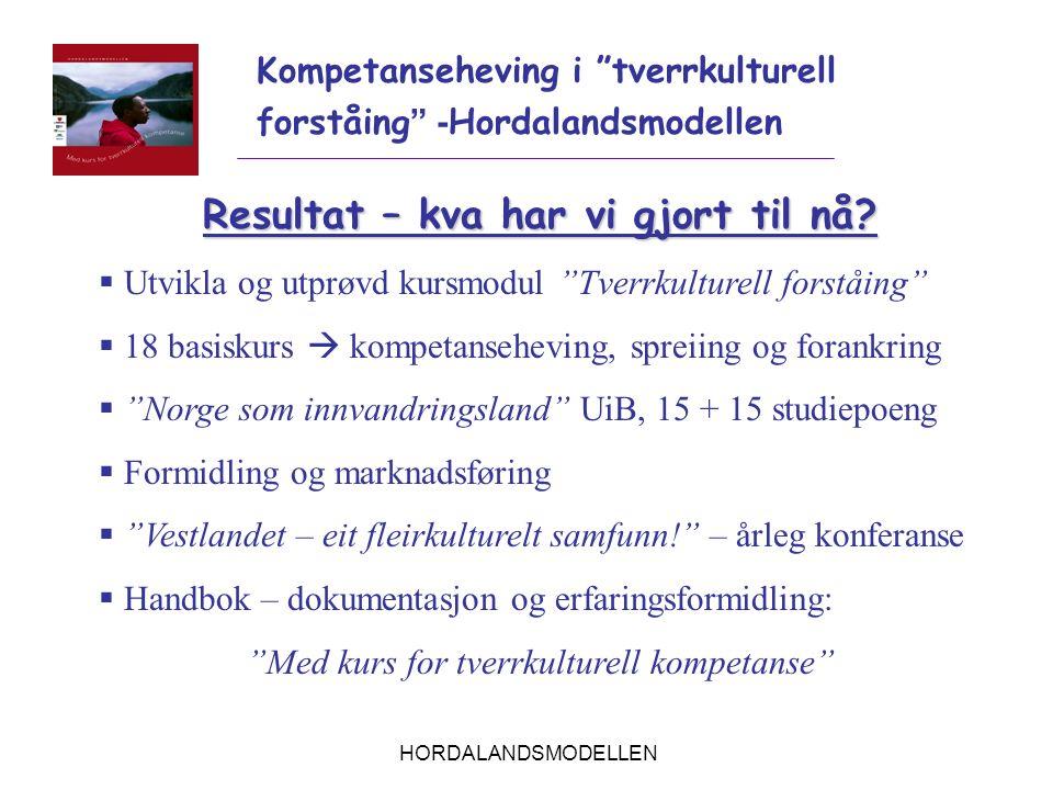 """HORDALANDSMODELLEN Kompetanseheving i """"tverrkulturell forståing """" - Hordalandsmodellen Resultat – kva har vi gjort til nå?  Utvikla og utprøvd kursmo"""