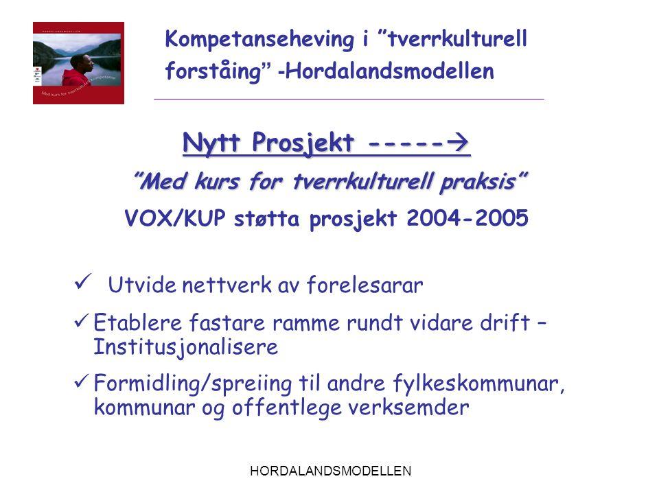 """HORDALANDSMODELLEN Nytt Prosjekt -----  """"Med kurs for tverrkulturell praksis"""" VOX/KUP støtta prosjekt 2004-2005 Utvide nettverk av forelesarar Etable"""