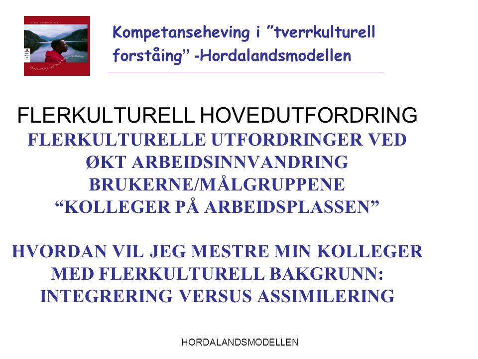 """HORDALANDSMODELLEN FLERKULTURELL HOVEDUTFORDRING FLERKULTURELLE UTFORDRINGER VED ØKT ARBEIDSINNVANDRING BRUKERNE/MÅLGRUPPENE """"KOLLEGER PÅ ARBEIDSPLASS"""