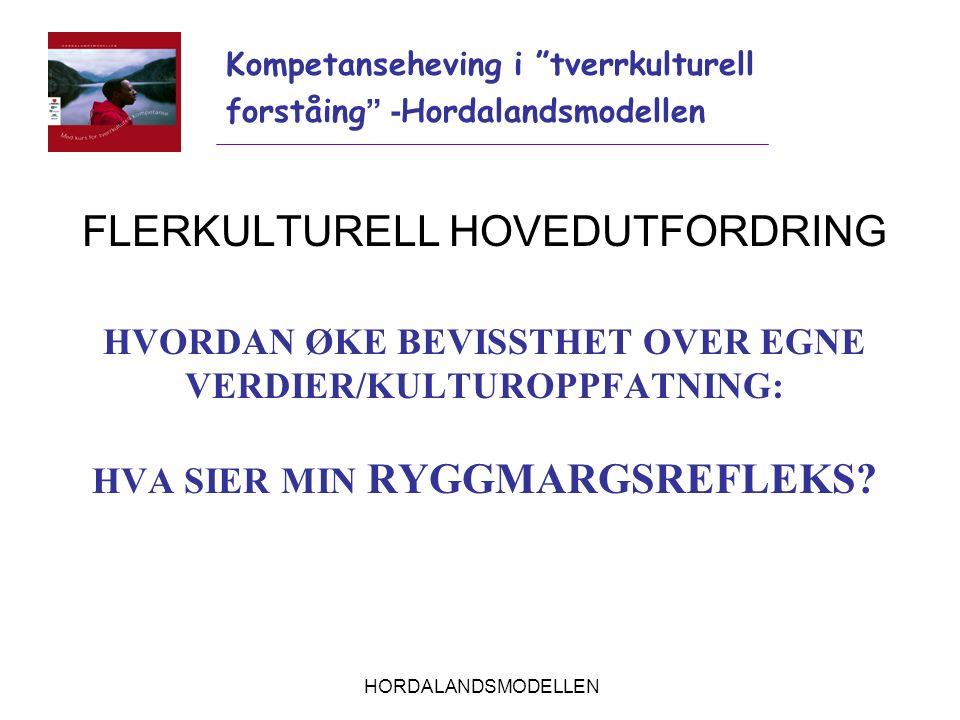 HORDALANDSMODELLEN FLERKULTURELL HOVEDUTFORDRING HVORDAN ØKE BEVISSTHET OVER EGNE VERDIER/KULTUROPPFATNING: HVA SIER MIN RYGGMARGSREFLEKS? Kompetanseh