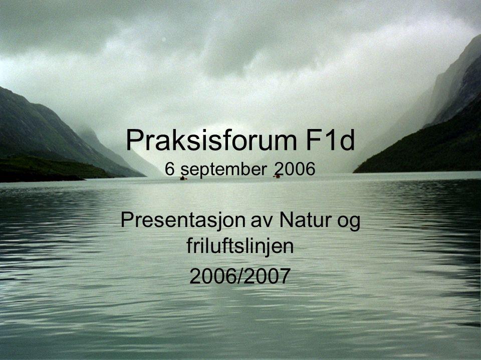 Praksisforum F1d 6 september 2006 Presentasjon av Natur og friluftslinjen 2006/2007