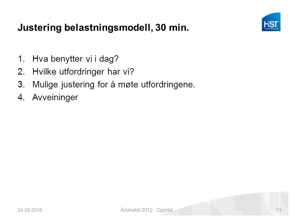 Justering belastningsmodell, 30 min. 1.Hva benytter vi i dag.