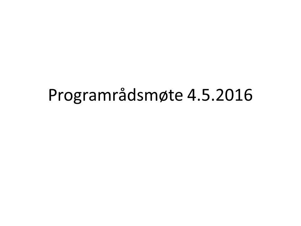 Programrådsmøte 4.5.2016