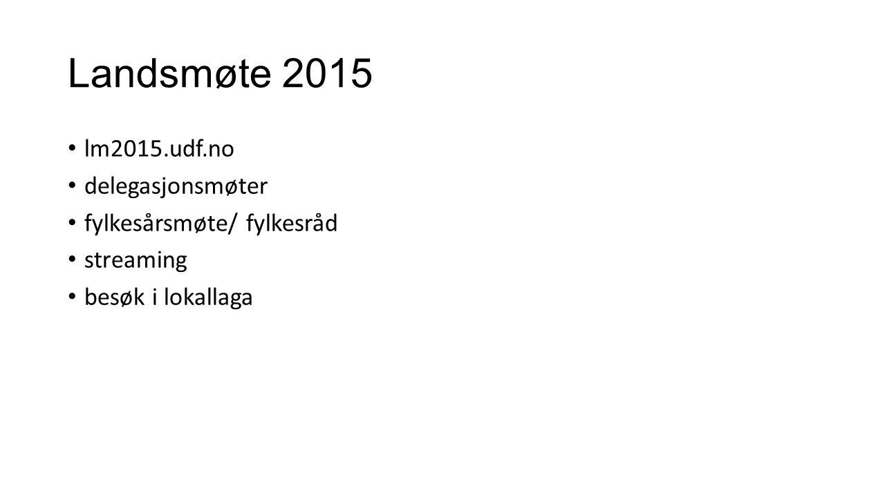 Landsmøte 2015 lm2015.udf.no delegasjonsmøter fylkesårsmøte/ fylkesråd streaming besøk i lokallaga