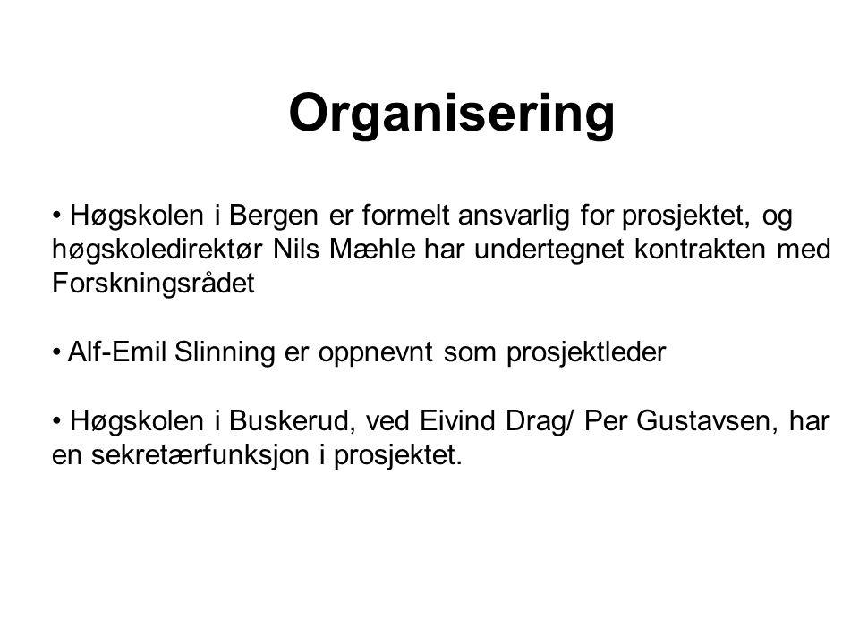 Organisering Høgskolen i Bergen er formelt ansvarlig for prosjektet, og høgskoledirektør Nils Mæhle har undertegnet kontrakten med Forskningsrådet Alf-Emil Slinning er oppnevnt som prosjektleder Høgskolen i Buskerud, ved Eivind Drag/ Per Gustavsen, har en sekretærfunksjon i prosjektet.