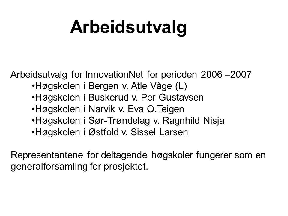 Arbeidsutvalg Arbeidsutvalg for InnovationNet for perioden 2006 –2007 Høgskolen i Bergen v. Atle Våge (L) Høgskolen i Buskerud v. Per Gustavsen Høgsko