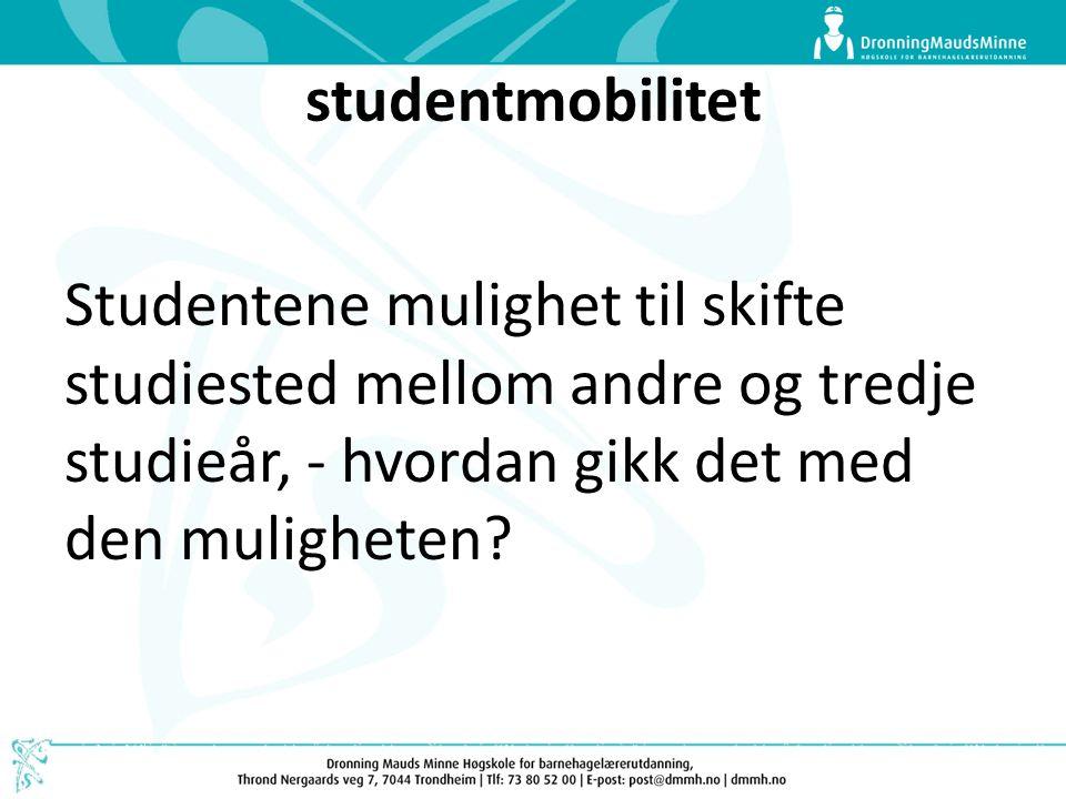 studentmobilitet Studentene mulighet til skifte studiested mellom andre og tredje studieår, - hvordan gikk det med den muligheten?