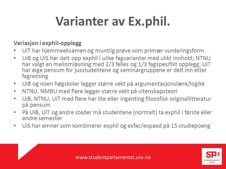 Varianter av Ex.phil. Variasjon i exphil-opplegg UiT har hjemmeeksamen og muntlig prøve som primær vurderingsform UiB og UiS har delt opp exphil i uli