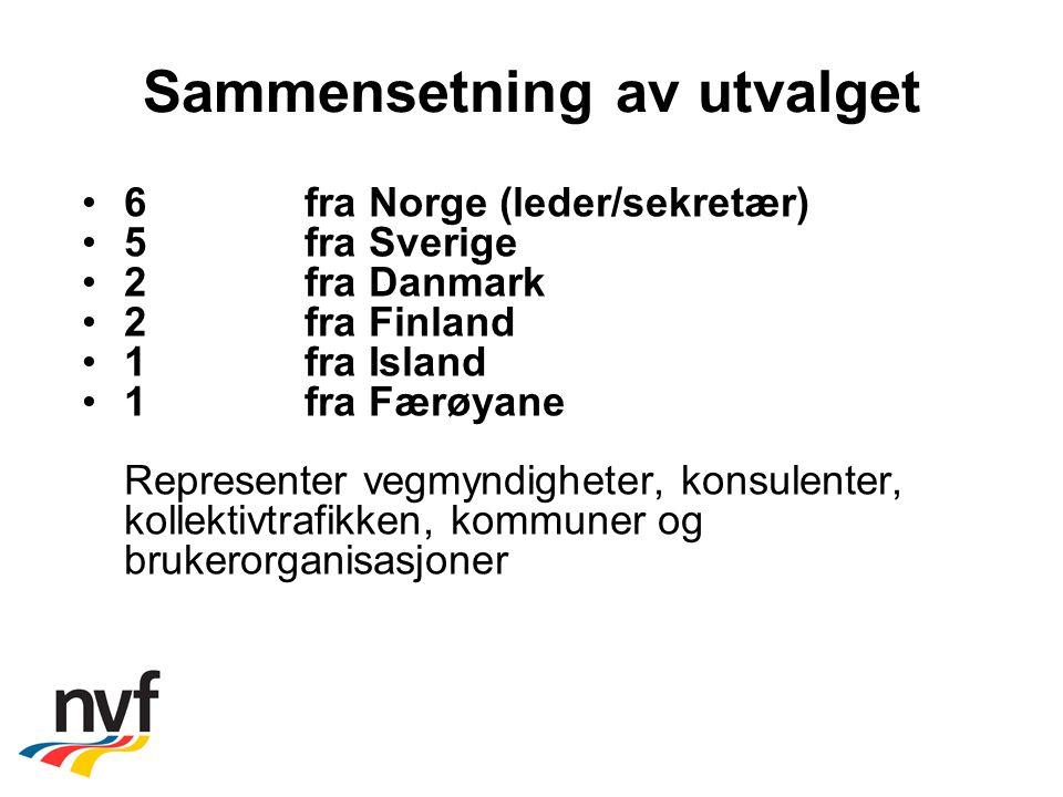 Sammensetning av utvalget 6 fra Norge (leder/sekretær) 5 fra Sverige 2 fra Danmark 2 fra Finland 1fra Island 1 fra Færøyane Representer vegmyndigheter, konsulenter, kollektivtrafikken, kommuner og brukerorganisasjoner