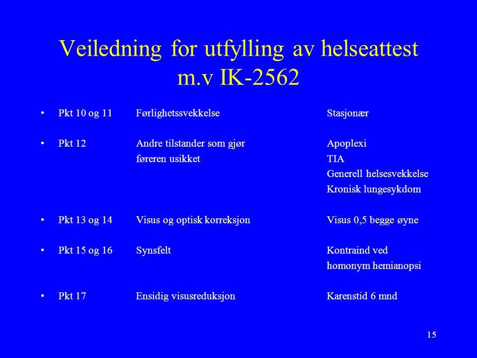 15 Veiledning for utfylling av helseattest m.v IK-2562 Pkt 10 og 11FørlighetssvekkelseStasjonær Pkt 12Andre tilstander som gjørApoplexi føreren usikketTIA Generell helsesvekkelse Kronisk lungesykdom Pkt 13 og 14Visus og optisk korreksjonVisus 0,5 begge øyne Pkt 15 og 16SynsfeltKontraind ved homonym hemianopsi Pkt 17Ensidig visusreduksjonKarenstid 6 mnd