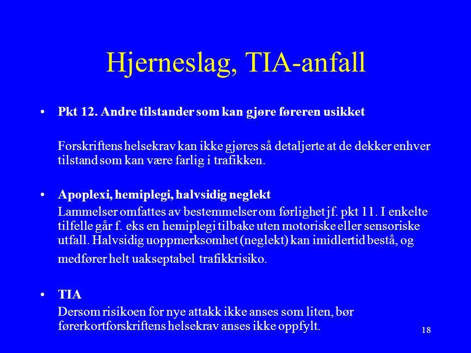 18 Hjerneslag, TIA-anfall Pkt 12.