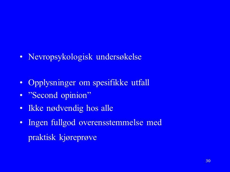 30 Nevropsykologisk undersøkelse Opplysninger om spesifikke utfall Second opinion Ikke nødvendig hos alle Ingen fullgod overensstemmelse med praktisk kjøreprøve